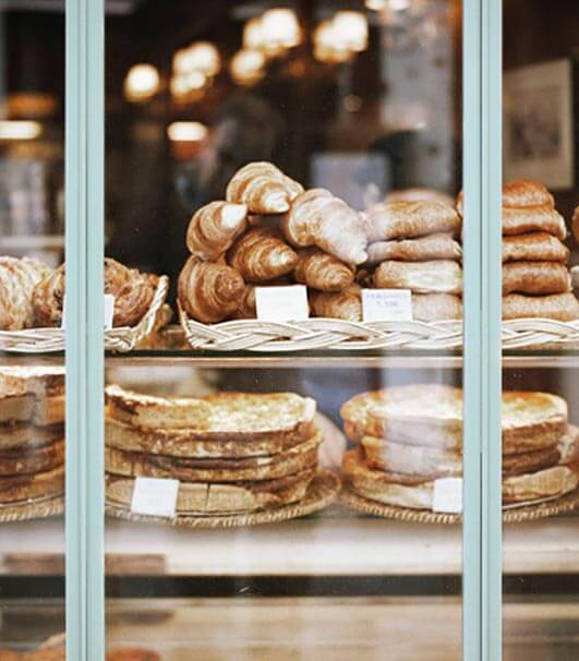 Bakery products in a restaurant